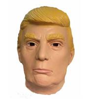 traje donald venda por atacado-Cos Donald Trump Máscara De Látex Cabeça Cobertura Performing Adereços Masquerade Máscaras Presidenciais Traje Do Dia Das Bruxas Para O Partido Decoração Ornamento 18yc jj