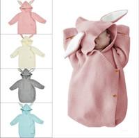 bebek itme toptan satış-Bebek sevimli tavşan kulak uyku tulumu örme sıcak anti-kick itme sepeti yün yenidoğan bebekler uyku tulumu yeni moda stil