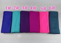 bufandas de jersey liso al por mayor-30 colores de alta calidad jersey elástico hiyab chales lisos poliéster pañuelos de algodón / bufanda islámica mujeres musulmanas envolver 180 * 85 cm