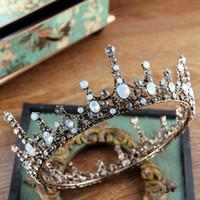 ingrosso corona piena arrotondata-Accessori per capelli da sposa Gioielli Barocco Big Full Round da sposa bianco strass King Queen Crown Prom Pageant Bride Tiara Crowns