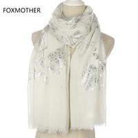 longues écharpes argent noir achat en gros de-FOXMOTHER Nouvelle Mode Brillant Noir Rose Floral Motif Glitter Feuille Argent Long Hijab Fringe Écharpes Pour Femmes Dames S18101904