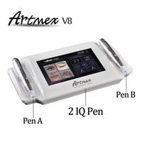 máquina de tatuagem maquiagem venda por atacado-Máquina de tatuagem permanente de alta qualidade caneta sobrancelha boca caneta de rotação Artmex MTS e PMU sistema V8