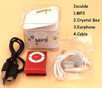 Wholesale mini mp3 player crystal online - Mini Clip MP3 Player Factory Price Come With Crystal Box Earphones USB Cable Support TF Card Micor SD Card