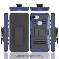 пластиковый телефон подставки оптовых-Для Google Pixel 3 XL сотовые телефоны ударопрочный жесткий пластик TPU кобура зажим для ремня Kickstand телефон случаях