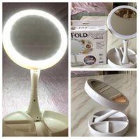 einfache taschenspiegel großhandel-mein wegklappbarer Spiegel führte gefaltete Lichtspiegel 360 Grad-Umdrehungskomsmetik tragbare kompakte Taschenspiegel KKA3826