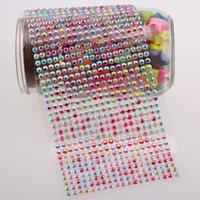 ingrosso pietre di resina diy-6 Pz / lotto (19 * 46 = 874Units / Pezzo) 5mm AB Color Resin Striped Fuzzy Gem Stone Autoadesivo Adesivo strass fai da te Color caramello