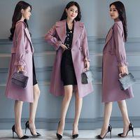 Wholesale thin red trench coat - free shipping big size hot sale Women fashion coats 2018 korean fashion coats spring ladies plus sizes slim long trench coat women jacket