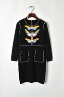 kelebek tarzı elbiseler toptan satış-2018 Kırmızı / Siyah Boncuk Pul Kelebek Nakış Sonbahar Kadın Elbise Tasarımcısı Milan Ünlü Stil Elbise 927ad
