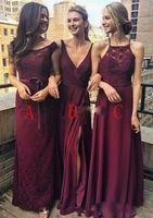 vestido dama honour toptan satış-Ucuz Bir Çizgi Bordo Gelinlik Modelleri Farklı Stil Uzun Şifon Nedime Abiye Vestido de dama de onur 2018