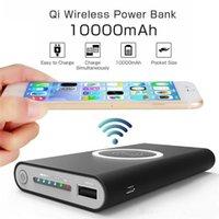 беспроводные адаптеры питания оптовых-Беспроводной Qi зарядное устройство 10000 мАч Power Bank быстрая зарядка адаптер для Samsung NoteS8 для iPhone 8 iphone X с розничной коробке