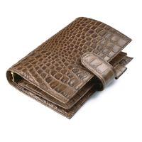 pastas de couro venda por atacado-100% Anéis De Couro Genuíno Notebook Jacaré Café 190x135mm Diário Pessoal Pasta de Ouro Planejador de Agenda de Luxo Organizador