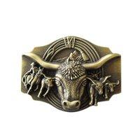 bronz kostüm toptan satış-Yeni Vintage Bronz Kaplama Longhorn Bull Rodeo Batı Cosplay Kostüm Kemer Toka Gurtelschnalle Buklet de ceinture
