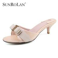 Wholesale thin metal heel sandals - SUNROLAN Plus Size11 12 Thin High Heels Sandals Women Sandals Metal Decoration Summer Genuine Leather Women Solid Slippers 6063