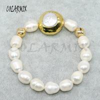 hebras de perlas al por mayor-3 hebra Perlas naturales hebra con cuentas de color oro plateado perlas redondas encantos pulsera joyería hecha a mano Regalo para lady4851
