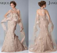 vestido de sirena janique al por mayor-Traje de noche Janique vestidos de novia sin mangas de la sirena de Champagne con cuentas vestidos de baile vestido de encaje con Cabo baile formal del partido por encargo