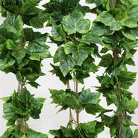 ingrosso wedding green garland-Luyue 10pcs foglie di vite di seta artificiale appeso ghirlanda finto vite Ivy Indoor Outdoor Green Leaves Garden Wedding Home Decor