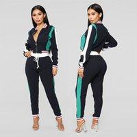 fato verde completo venda por atacado-Outono Casual 2 Peça Outfits Mulheres Frente Zip Completa Manga Outer E Cordão Calças Suor Lado Listrado Verde fatos de Treino