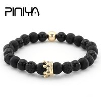 его и ее браслеты  оптовых-Couple His And Hers Bracelets Distance Black Matte & White  Crown King Charm Stone Bracelet Lovers