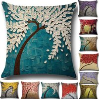 Wholesale wholesale 3d flower bedding - Tree Of Life Flower Pillow Case 3D Cushion Cover Linen Cotton Throw Sofa Bed Pillow Covers Christams Home Decorative 20 Designer WX9-751