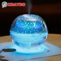 yatak odası için projektör ışıkları toptan satış-USB Kristal Gece Lambası Projektör 500 ml Hava Nemlendirici Masaüstü Aroma Difüzör Ultrasonik Mist Maker Ev için LED Gece Lambası