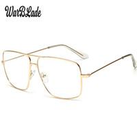 frauen klare linsengläser großhandel-WarBLade Vintage Gold Metallrahmen Brillen Herren Damen sonnenbrille Retro Quadratische Optische Linse Brillen Nerd Klare Linse Gläser