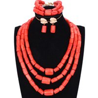 hintli kolye boncukları toptan satış-Tıknaz Orijinal Mercan Boncuk Takı Seti Nijeryalı Düğün için Turuncu veya Kırmızı Afrika Kadın Kolye Gelin Hint Gelin Mücevherat