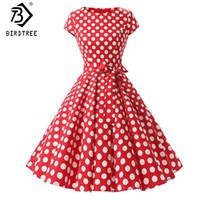 yetiştirilen elbise toptan satış-Kadın Retro Elbiseler 2018 Yeni Audrey Hepburn 1950 s 60 s Rockabilly Polka Dot Bow Pinup Topu Yetiştirilen Parti Robe Artı Boyutu 2XL D83307A