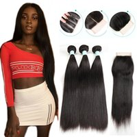Wholesale weft hair weaving extensions closure online - Brazilian Straight Human Hair Bundles with Closure Unprocessed Virgin Hair Bundles with Lace Closure Natural Color Hair Extensions