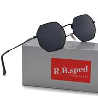 gespiegelte sonnenbrillen frauen großhandel-Marke Sonnenbrillen Männer Frauen neue Ankunft Polygon Sonnenbrille Feminino Masculi Spiegel Sonnenbrille Oculos de Sol mit braunen Fällen und Box