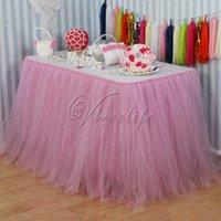 детские душевые оптовых-Рождество 100 см * 80 см светло-розовый тюль пачка стол юбки посуда для свадьбы Baby Shower день рождения Xmas прием стол декор