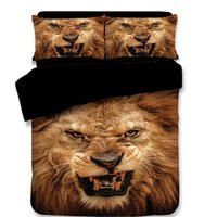 ropa de cama completa del león de la reina al por mayor-Envío gratis novedad fresco regalo animal enojado patrón de león ropa de cama conjunto edredón edredón cubierta con 2 funda de almohada doble completa reina king size
