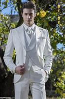 tres un pantalón al por mayor-Color Puro Blanco Novios Esmoquin Tres Piezas (Blazer + Pant + Chaleco) Un botón Conjunto de ropa formal Conjunto de trajes de rendimiento de fiesta Abrigos de moda