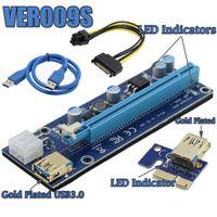 pcie mini pci express al por mayor-Golden VER009S PCI-E PCIE PCI Express Molex 6Pin a SATA 1X 16X Tarjeta vertical USB3.0 Extensor Adaptador LED para minería DHL GRATIS