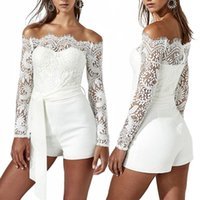 Wholesale Short Mini Rompers - Women Long Sleeve Strapless Lace Bodycon Dress Party Rompers Ladies Casual Short Mini Dress Jumpsuits RF0831