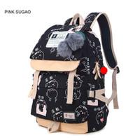 Wholesale black skull print backpack resale online - Pink sugao designer backpack for men and women print letter cartoon backpacks canvas shoulder bags color choose high quality