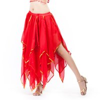 Wholesale indian clothing free shipping online - Green Whte Red Dancewear Professional Belly Dance Clothes Flamenco Indian Gypsy High Chiffon Oriental Practice Belly Skirt