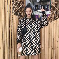 vestido diagonal venda por atacado-Nova Carta Pleuche Vestido Completo Mulheres Outono 2018 Manga Longa De Veludo T-shirt Solto F Diagonal Completa Moda Hoodies