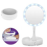 складывающееся заднее сидение оптовых-Складная LED зеркало для макияжа портативный 360 градусов вращения круглый женщины лица макияж Косметическое зеркало для рабочего стола 10x увеличение освещенное зеркало