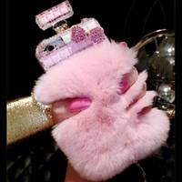 caja de la botella de perfume para samsung galaxy al por mayor-Para iPhone 6 6s 7 8 plus X Samsung galaxy s7edge s8 s9 plus note 4 5 8Luxury Rabbit Fur Diamond Lips Rhinestones Perfume estuche para teléfono