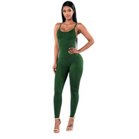 mono negro delgado al por mayor-New Summer Women Jumpsuits Solid Casual sin mangas Bodycon Rompers Mono Negro Blanco Women Club Wear Slim Overalls S-XL