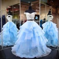 dos piezas junior vestidos de fiesta al por mayor-Sky Blue de dos piezas Junior Quinceanera vestidos de hombro organza Ruffles vestido de bola más el tamaño de vestido de fiesta formal dulce 16 vestidos
