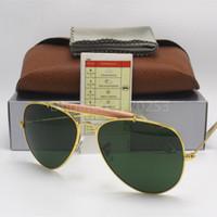Wholesale Male Case - Excellent Quality Men Male Designer Pilot Sunglasses Outdoorsman Sun Glasses Eyewear Gold Golden Green 62mm Glass Lenses With Box Case