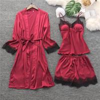 siyah dantel pijama toptan satış-Lisacmvpnel Siyah Dantel Kadınlar Pijama Buz Ipek Uzun Kollu Pad Gecelik + Robe + Şort Pijama Ile