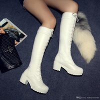 6b3abb1abdb factory price hot seller snow square heel round nose lace up knee women  boots fashion 097