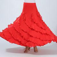 Wholesale ballroom dancing costumes for women online - Flamenco Dance Costume Skirt Ballroom Dance Long Skirts Ladies Waltz Modern Standard Tango Dancewear Outfits for Women Color