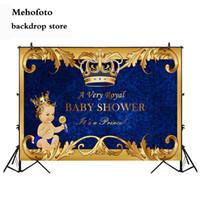 backdrops bleu achat en gros de-vente en gros royal prince bébé douche toile de fond or couronne royal bleu photographie fond vinyle bienvenue petit garçon baby shower 935