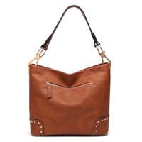 silk hooks UK - Classic Pu Leather Bucket Hobo Shoulder Bag Rivet Women Tote Purse Ladies Handbag With Snap Hook