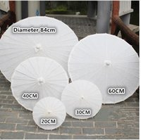 Wholesale Umbrella White - bridal wedding parasols White paper umbrella Chinese mini craft umbrella 5 Diameter:20,30,40,60,84cm wedding favor decoration