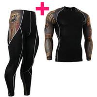 edificio de impresión al por mayor-Manga larga de moda Camisetas para hombre Impresiones 3D Camisas de compresión ajustadas para hombres MMA Rashguard Hombre Body Building Top Fitness