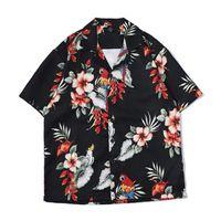 Wholesale casual men s shirts flowers for sale - Short Sleeve Shirt Men D Flowers printed Hip Hop loose shirts men Kimono Hawaiian Japanese Streetwear casual brand shirts